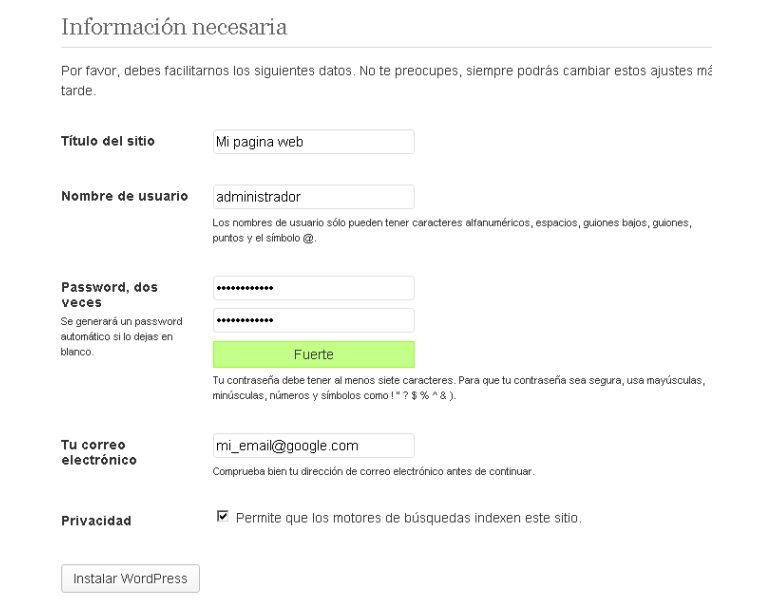 configurar wordpress 5